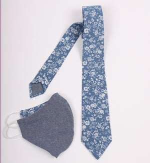 Riley Tie Chambray Floral | Matching Mask Option