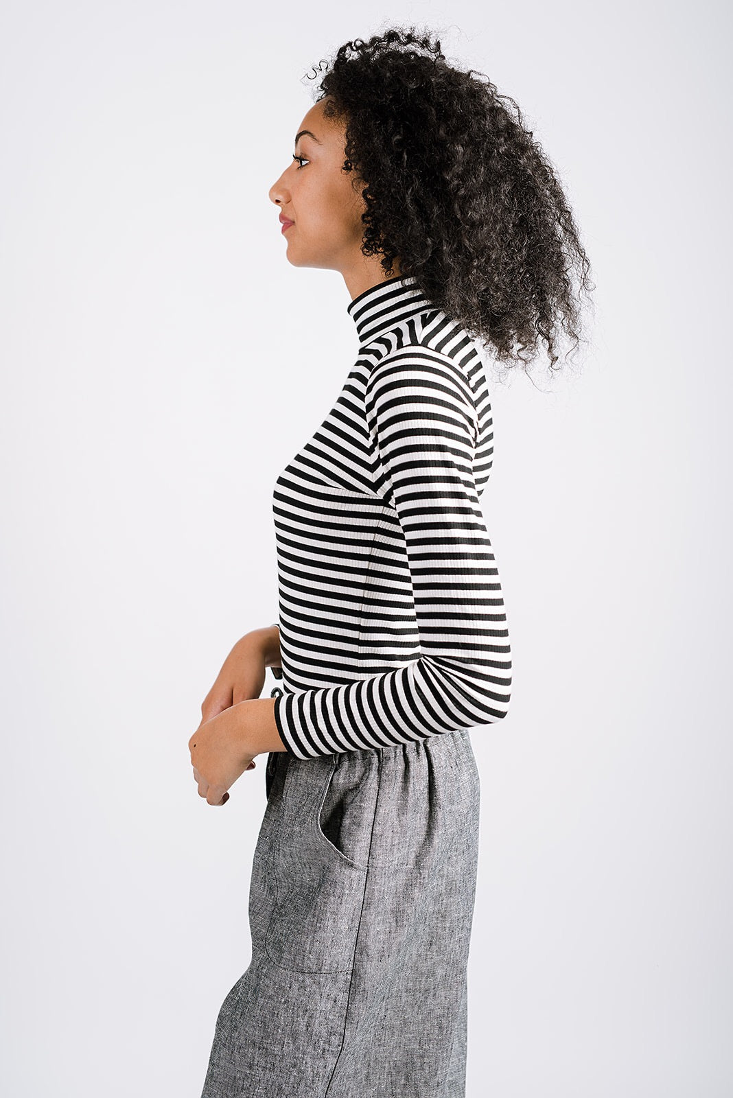 Rhoda Mock Neck | City Stripe Black