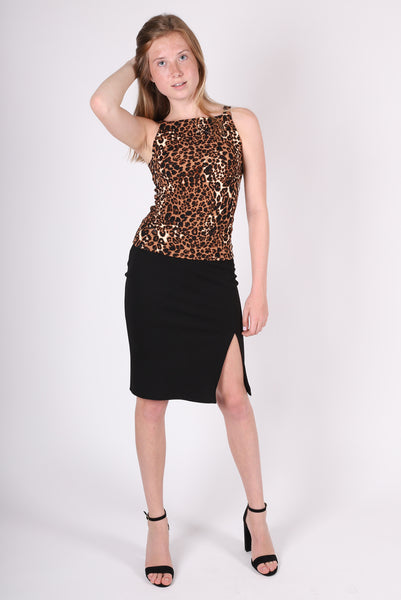 Lulu Side Slit Skirt | Cheetah | Black