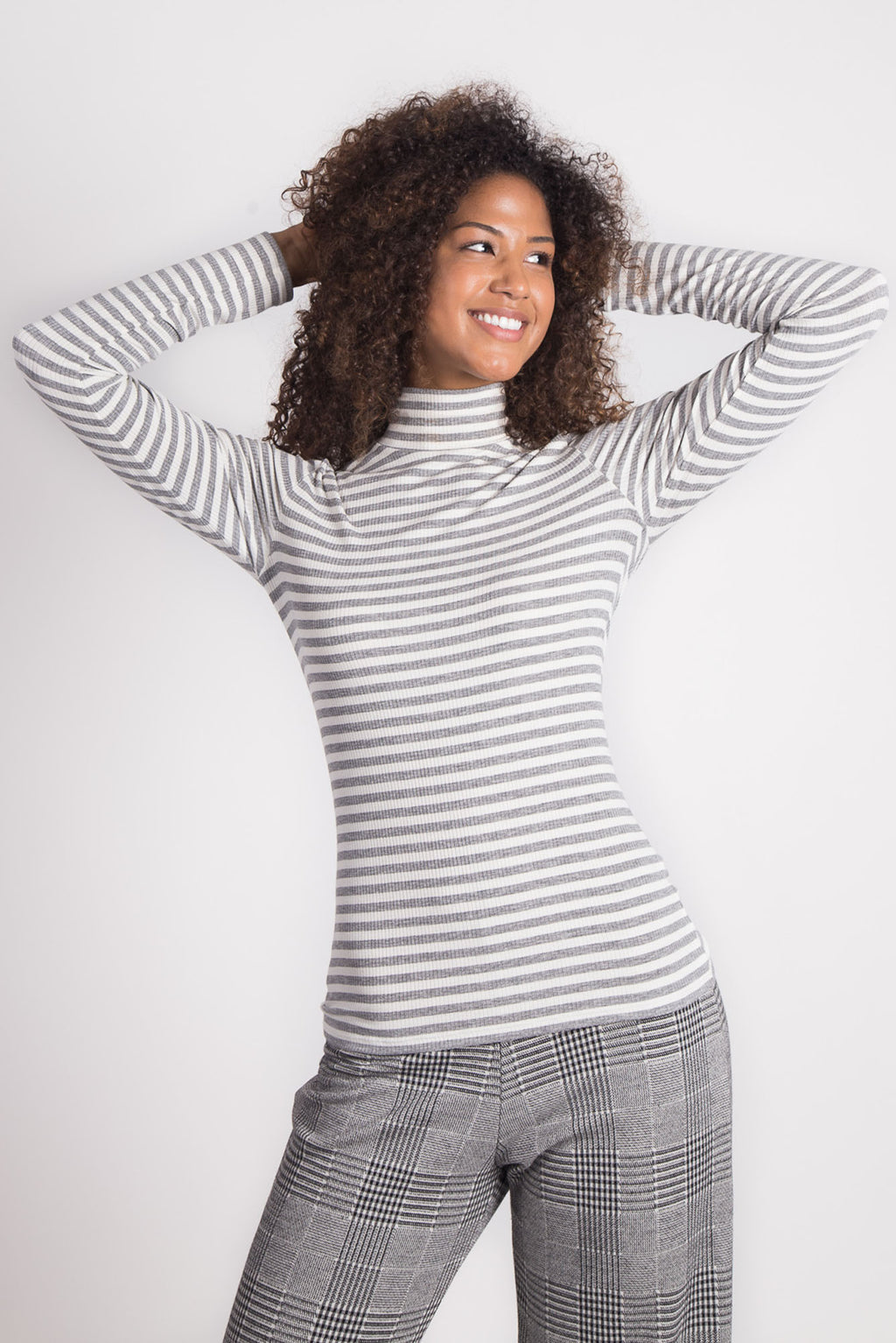 Rhoda Mock Neck | Ciy Stripe Grey
