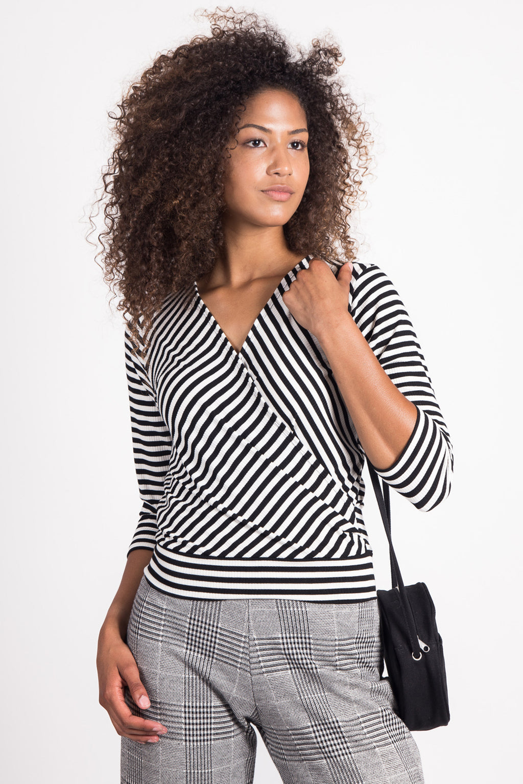 Cross My Heart Top | City Stripe Black