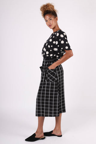 Glenda Gathered Skirt | Windowpane Black