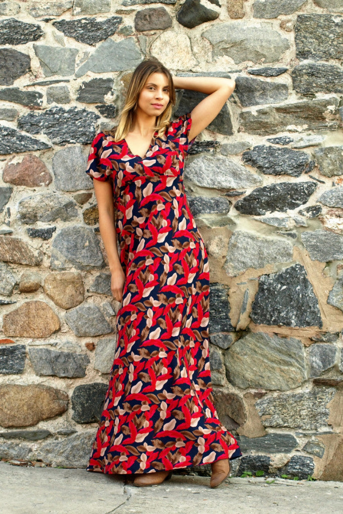 Williams Dress Maxi | Falling Leaves Navy