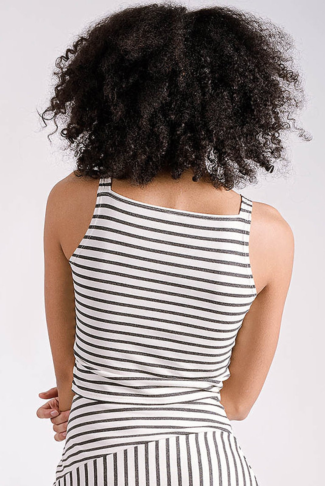 Maisie Square Neck Top | Ivory/Navy Stripe