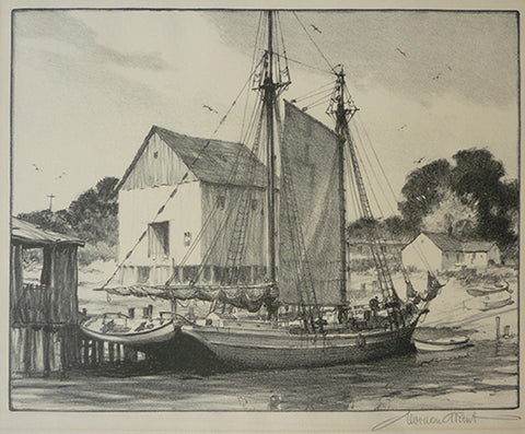 "Gordon Grant - ""Sunday at Port"" Lithograph"