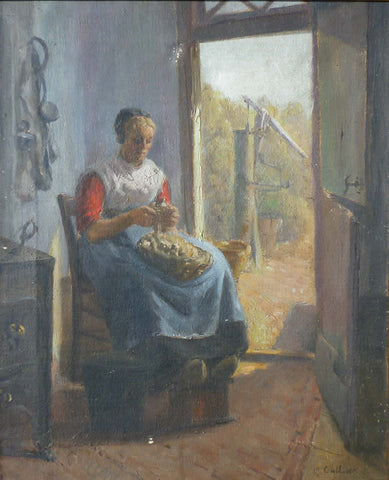 "Mary Gulliver - ""Peeling Potatoes"" Oil Painting"