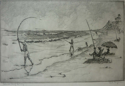 "Kent Hagerman - ""Florida Surf Fishing"" Etching"