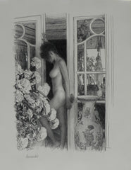 "Douglass Hofmann ""Woman at door"" Pencil Drawing, Realism"