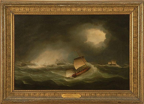 "Thomas Buttersworth -  ""The Loss of the East Indiamen Britannia and Admiral Gardner on the Goodwin Sands, 24th January 1809"" Circa 1810"