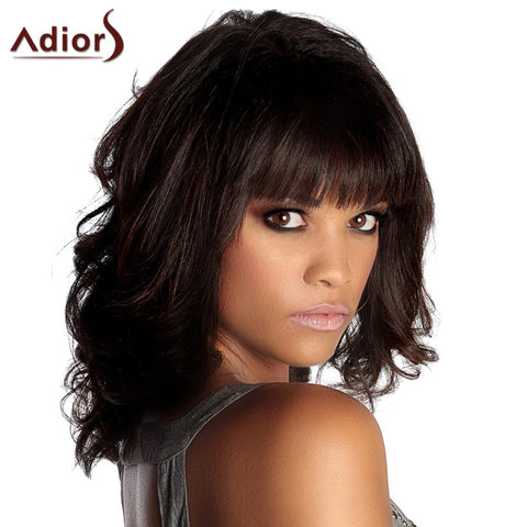 Adiors Medium Neat Bang Wavy Fluffy Synthetic Wig