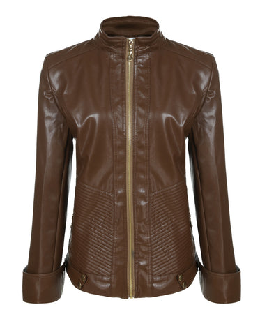 ANGVNS Women Fashion Quilted Biker Coat Jacket