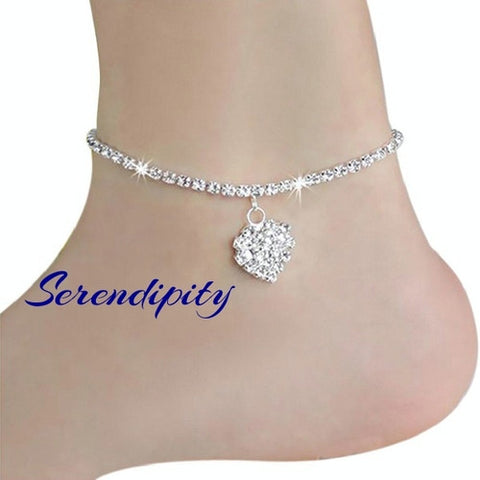 Anklet with Rhinestone Heart