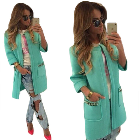 2016 Autumn Women Long Coat Open Stitch Trench Coat for Women Fashion Chaquetas Mujer Trench