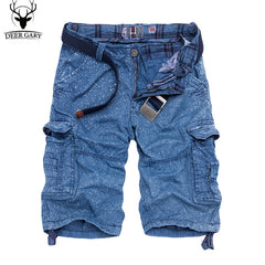2016 summer knee-length men shorts multi-pocket cargo shorts fashion printed loose men short pants (no belt)
