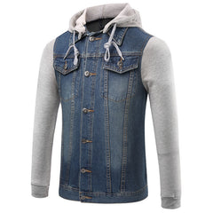 2016 New Spring/Autumn Jeans Jacket Men Denim Hooded Jacket Jeans Sweatshirt Leisure Men Cowboy Jacket Size M-5XL