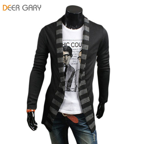 2016 New Style Stripes spell color Men cardigan Long Sleeve Slim Fit Cardigan Clothing Black/Dark Gray