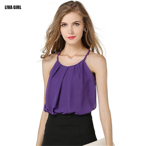 Hot Sale Women Summer T-shirt Sexy Camis Tank Tops Casual Sleeveless O-neck Chiffon Tops Fashion Solid Loose Blusa Feminina