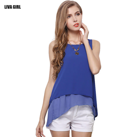 Free Shipping New Fashion Women Summer T-shirt Sleeveless O-neck Chiffon Shirt Casual Solid Female Tank Tops Ladies Loose Vest