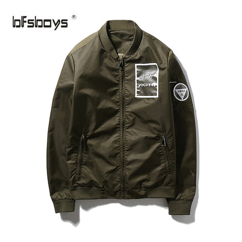 2016Autumn hot-selling fashion letter print  fashion Clothes of high quality  jacket male teenage baseball outerwear white olive