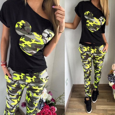 2017 Camouflage Mickey Women Suit 2 Two Piece Set Tracksuit Black T Shirt and Pants Set Fashion SweatSuits Women Outfit