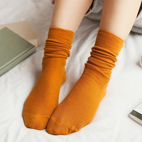1 Pair Fashion Brand New Girls Womens Soft knitting Socks Casual Cotton Middle Solid 10 Colors Tube Socks #LSN