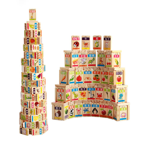 100pcs Wooden Blocks Fruit and Animals Dominoes Game Play Toy Kids Educational Toy Child Birthday Gift