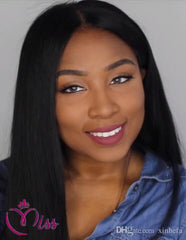 4x4 Silk Base Italian Yaki /Wooley Straight Peruvian Human Hair Lace Front/ Full Lace Wigs With Silk Top