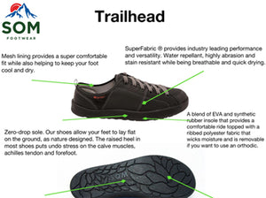 Tech sheet of the Trailhead, the most sport-driven shoes made by SOM.