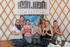 Ladies practicing yoga in a yurt at the 2015 San Juan Independent Film Festival in Montrose, Colorado.