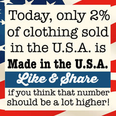 Only 2% of clothing sold in the USA is made in the USA.