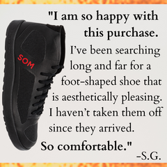 Foot-shaped shoes that are made in America and have style and flexibility.
