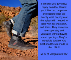 SOM Footwear's zero-drop, open toe-box shoes can help with knee pain testimonial