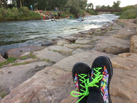 SOM Custom Shoes flower print at the river