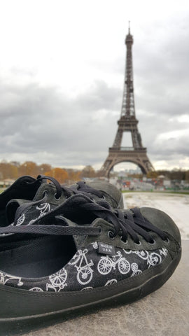 SOM bicycle custom shoes at the Eiffel Tower