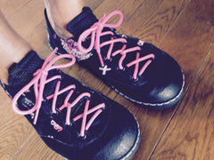 Custom breast cancer awareness sneakers designed by K.K. of Buffalo, NY.
