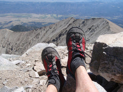 Hiking shoes with a roomy toe box made in America.