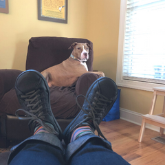 Does she see me behind those shoes?