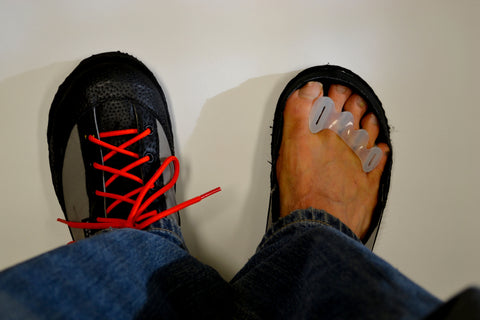 Wear your Correct Toe toe spacers with your SOM shoes.