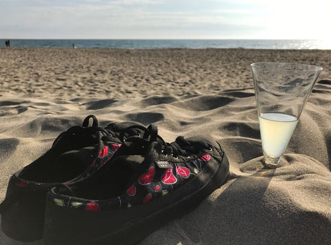 SOM Custom Shoes hearts and roses pattern on the beach