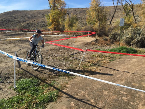 Tammy Kulpa navigates the pump track at Cerise Park during a cyclocross race.