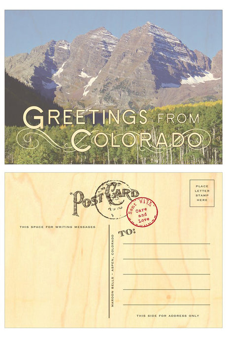Greetings From Colorado Wood Veneer Postcard