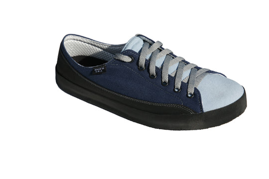 SOM Footwear Zephyr casual barefoot shoe in two tone blue angled view