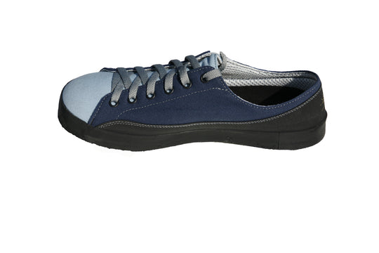 SOM Footwear Zephyr casual barefoot shoe in two tone blue side view
