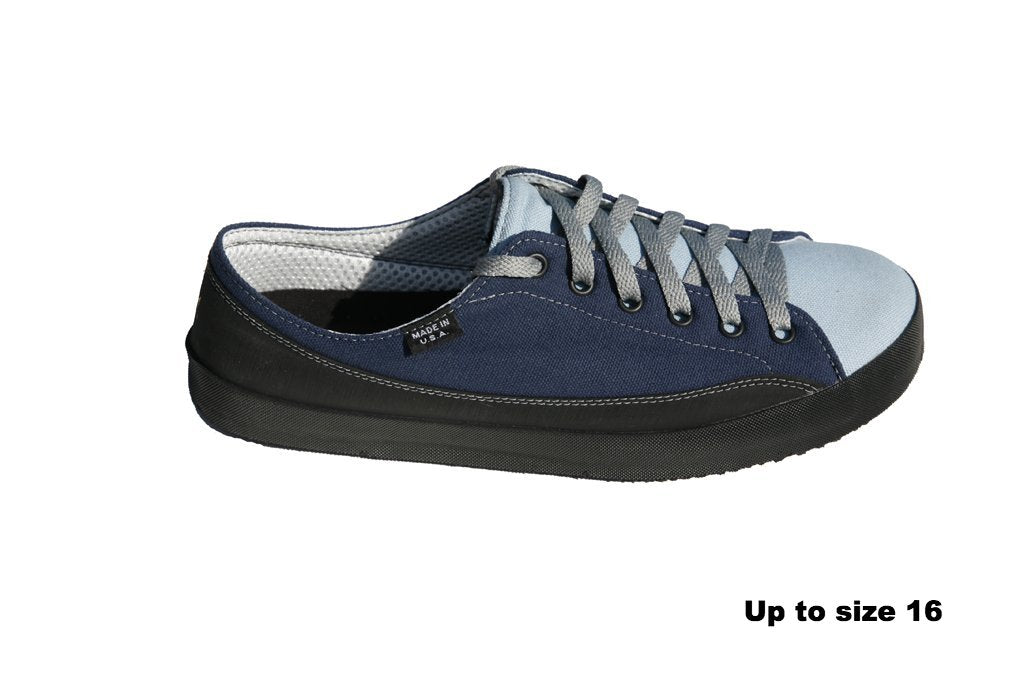 380aba59a4 ... SOM Footwear Zephyr casual barefoot shoe in two tone blue side view ...