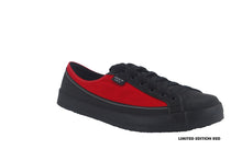 SOM Footwear barefoot shoe Norwood in red color angled view