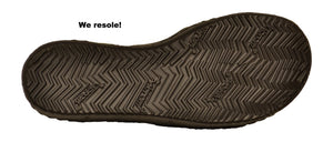 SOM Footwear natural foot shaped Vibram sole with text: We resole