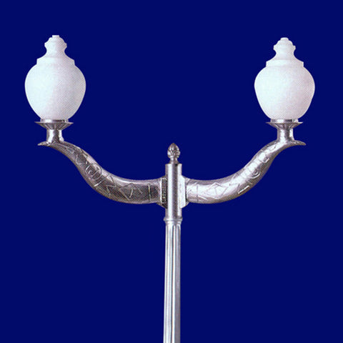2 Arm French Scroll Light Post - Aluminum Landscape Lighting
