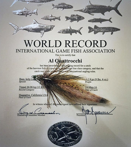 Fly fishing world record calico bass Al Quattrocchi
