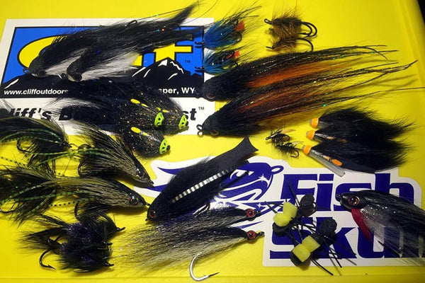 Black fishing flies
