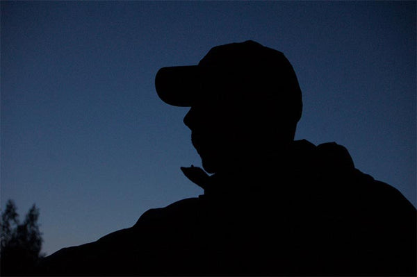 Night silhouette fly fishing
